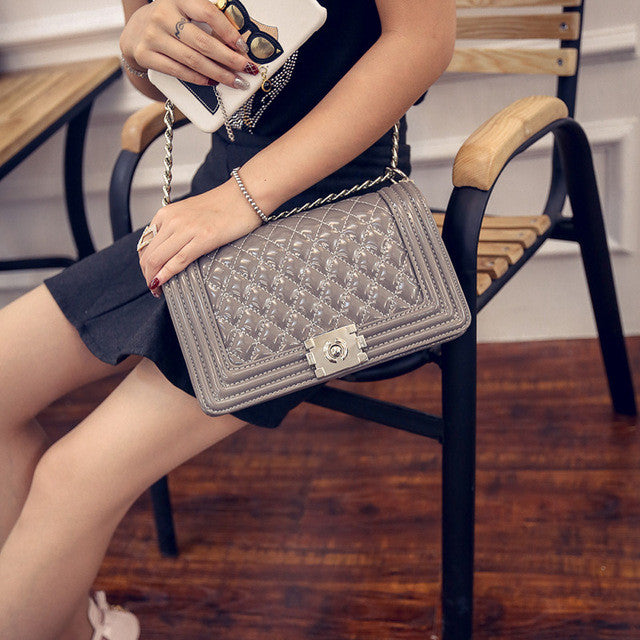 Winter Fashion Chain Patent Leather Diamond Lattice Women Bag Designer Women Messenger Bags Small Crossbody Shoulder Bags 8867