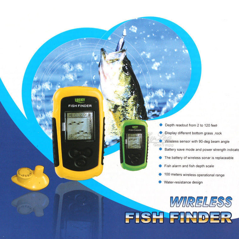 Lucky FFW1108-1 Portable 100m Wireless Fish Finder Alarm 40M/130FT Sonar Depth Ocean River Echo Sounder for Fishing