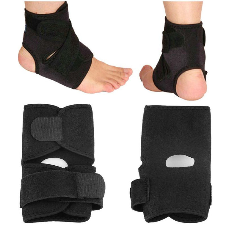 Outdoor Activities Sport Black Adjustable Ankle Foot Ankle Support Elastic Brace Guard Football Basketball Equipment