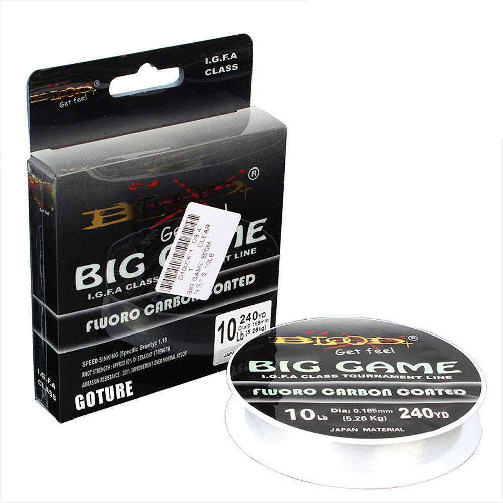 BIG GAME Leader Fluorocarbon Coated Fishing Line 1# to 9# 240-330YD Fishing Cord 4 Transparent Carbon Fiber Fluorocarbon Line