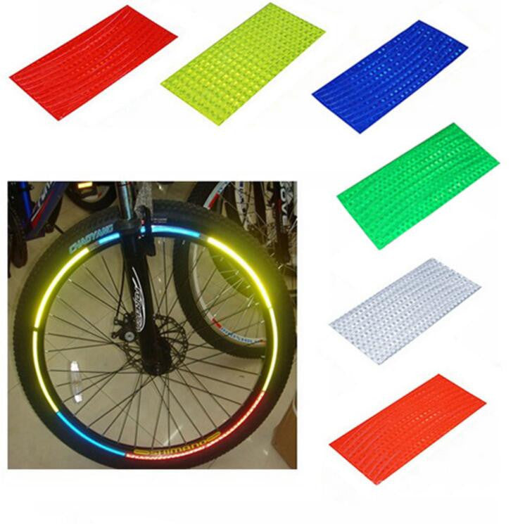 Fluorescent MTB Bike Bicycle Cycling Motorcycle Wheel Tire Tyre Reflective Stickers Strip Decal Tape Safety Silver