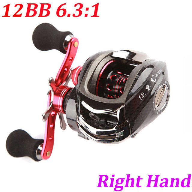 High Speed 12BB 6.3:1 Left/Right Hand Bait Casting Fishing Reel Bait Casting Reel Spinning Lure 11Ball Bear + One-Way Clutch