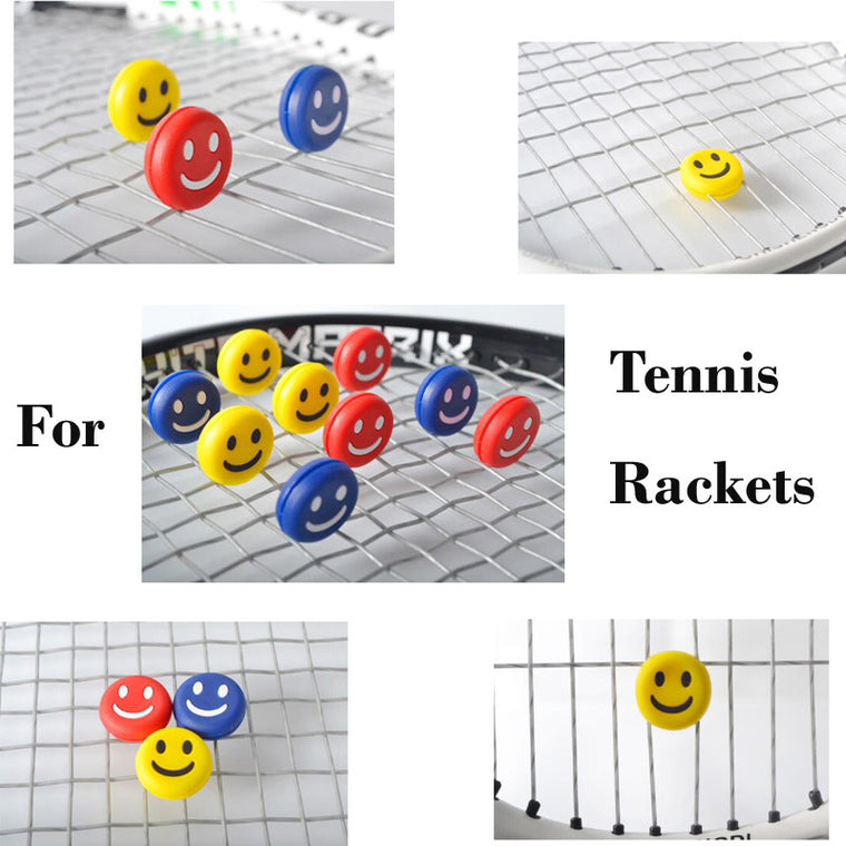 10Pcs/lot Tennis Racket Silicon Vibration Dampener In 3 Colors Smile Face Soft Silicon Damper for Tennis Racket String 2cm Diam