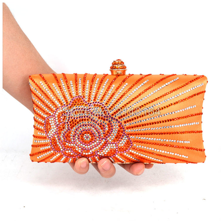 Orange Crystal Evening Clutch Bags with Rhinestone Crystal Diamond for Ladies Wedding Prom Evening Party Crystal Box Clutch T17