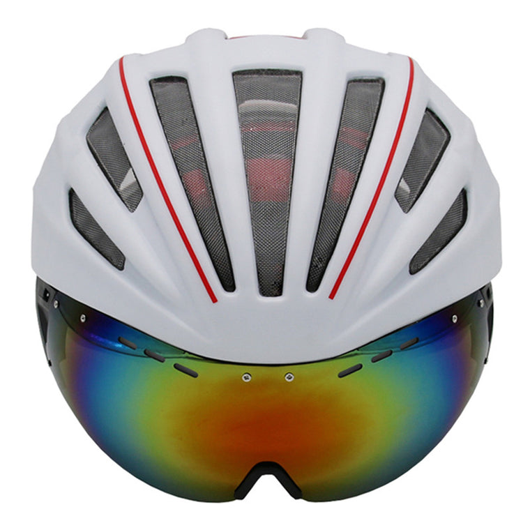 Double Layers In-mold Cycling Helmet With Glasses Goggles Bicycle Helmet 280g Casco Ciclismo Bike Helmet 28 Air Vents