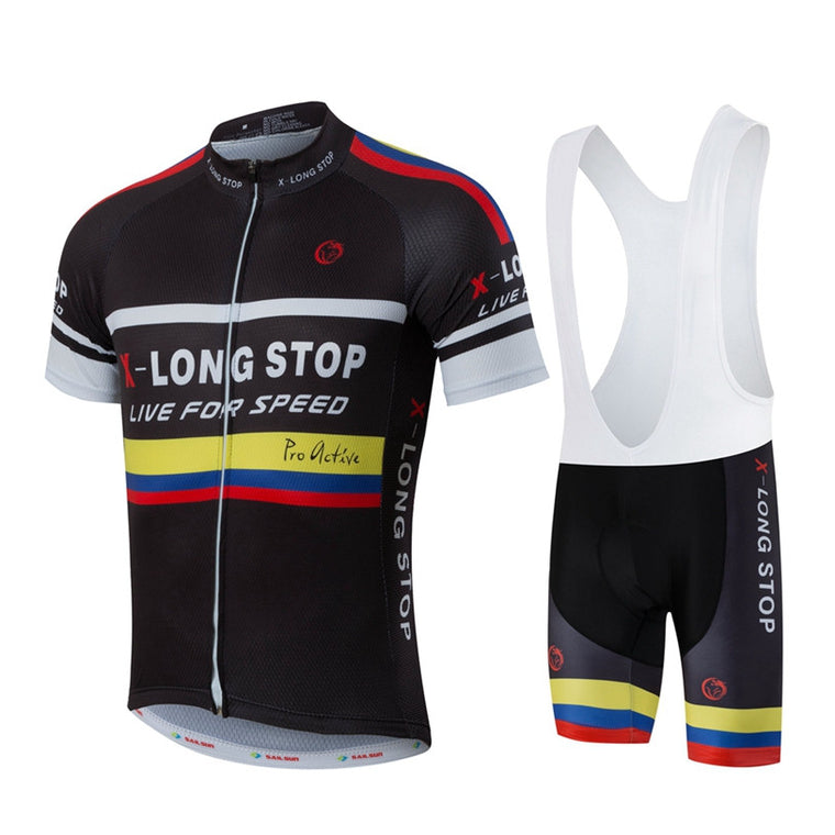 HOT Men MTB Cycling Clothing Summer bike Jersey Bib Shorts Black Male Outdoor Sports Pro team ropa  Bicycle Top wear