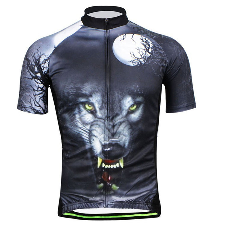 HOT! Men Cycling Jersey Wolf Pattern Cycling Clothing Bicycle Top Bicycle Jacket Bike Short Sleeve Cycling Wear Shirts