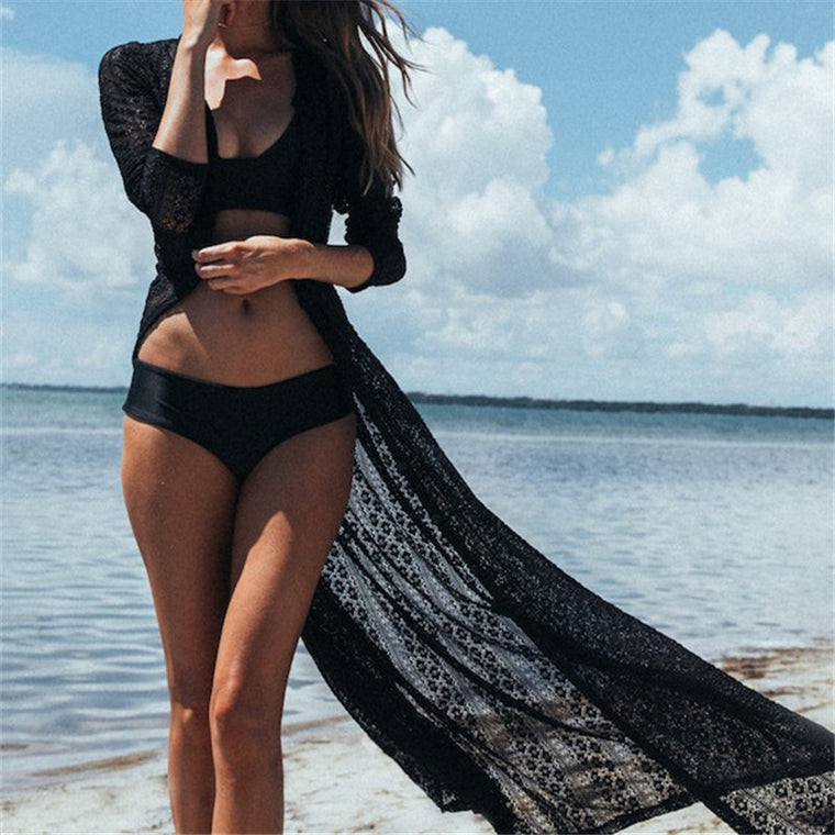 New Arrivals Sexy Beach Cover up Lace Pareo Swimwear Ladies Beach Kaftan Bikini Wrap Dress Robe de Plage Saida de Praia #Q143