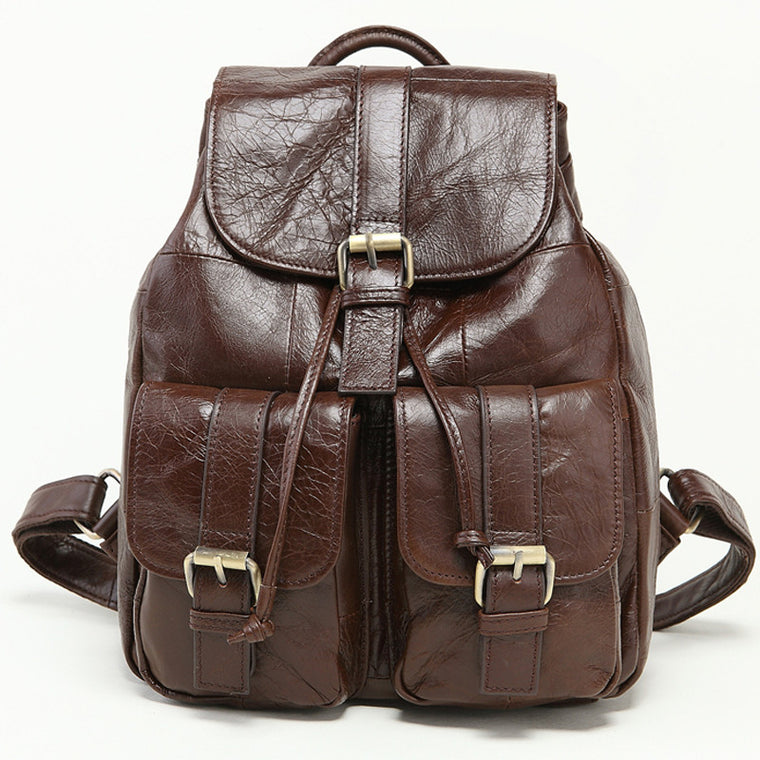 High Quality Brand Vintage daypacks Casual 100% Genuine Oil Wax Leather Cowhide Men Women Backpack Shoulder Bag Bags For Ladies
