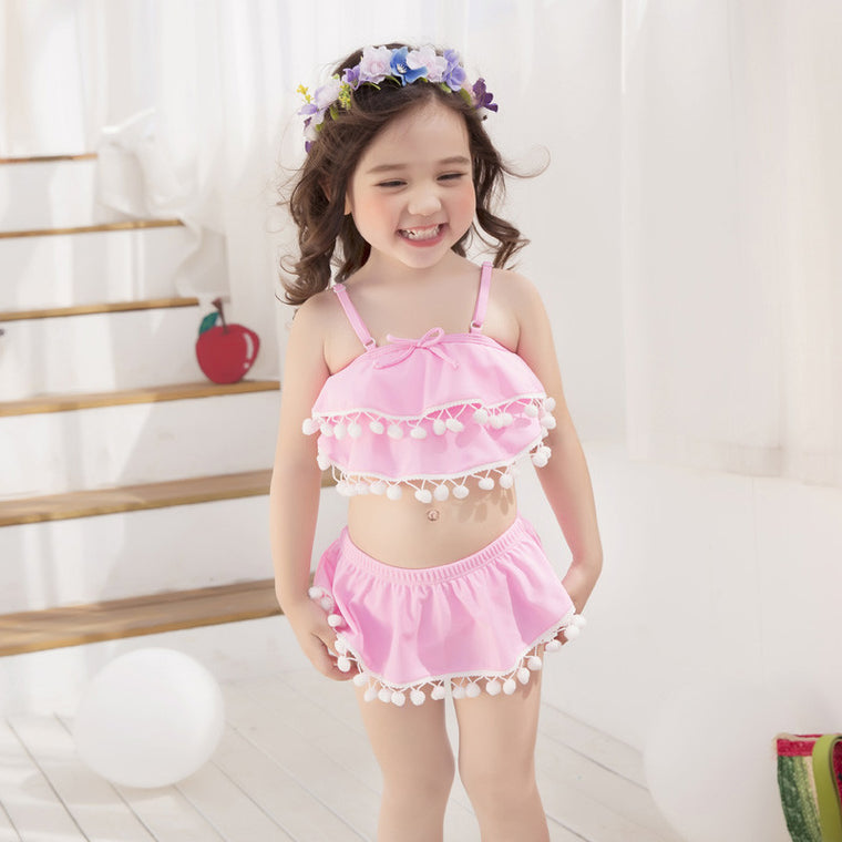 girl pink swimsuit kids bikini set children two pieces swimwear baby beach suit for 3-9 years old wholesale or retail