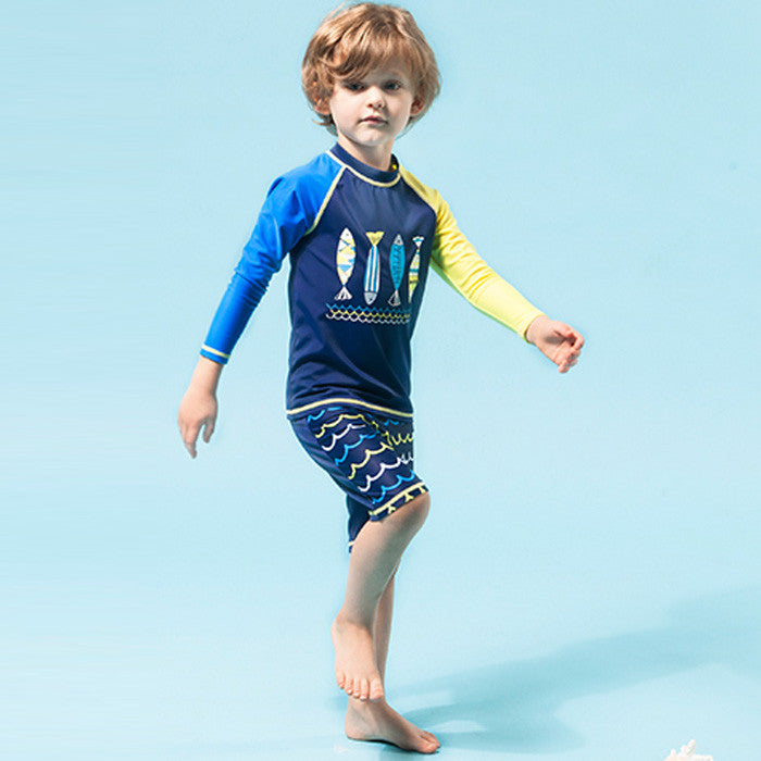 Swimsuit Two Pieces Character Boys Swimwear Long Sleeve Short Pants Children's Beach Wear Little Kids Bathing Suit for Young Boy