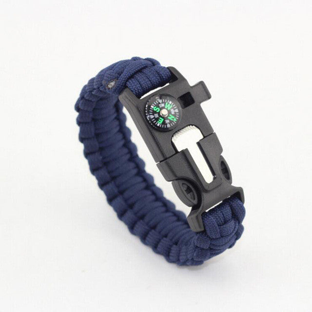 Multi-functional 5 in 1 Outdoor Survival Gear Escape Paracord Bracelet Flint Compass Whistle Brand New Camping Hiking survival
