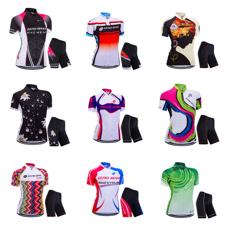 ZERO BIKE Women's Cycling Jersey Short Sleeve Jacket Quick Dry Breathable Mountain Cycling Shirt + Pants XY01