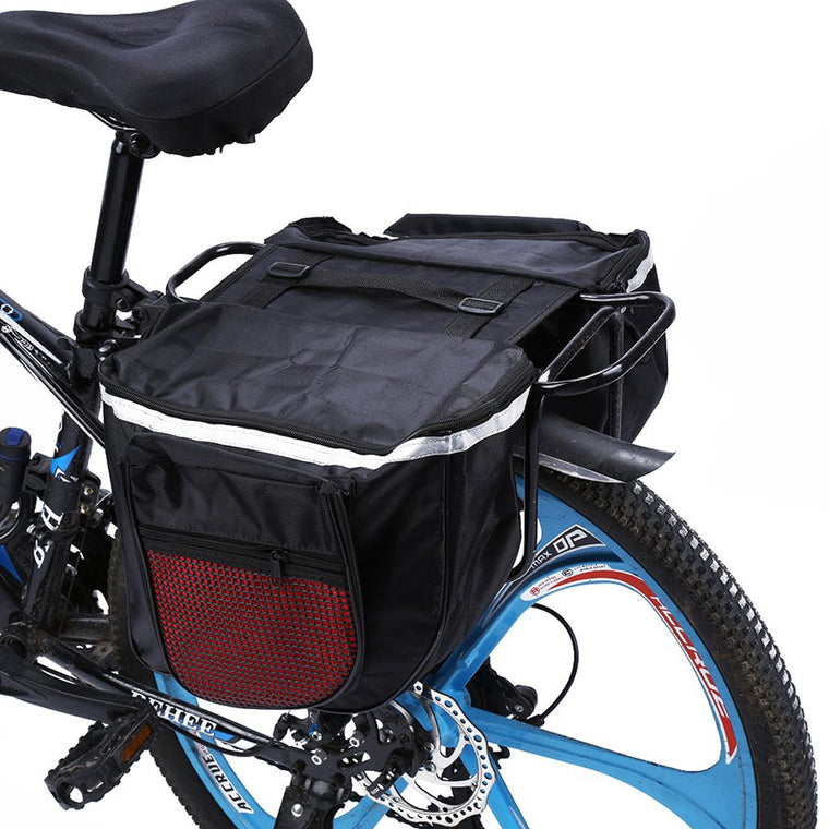 25L Waterproof Mountain Road Bicycle Bike Rack Back Rear Seat Tail Carrier Trunk Double Pannier Bag Back Rain Cover and Red