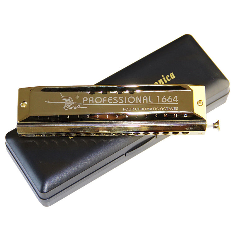 Swan 16 hole 64 tone Chromatic Harmonica, Golden,Laser Print Free shipping