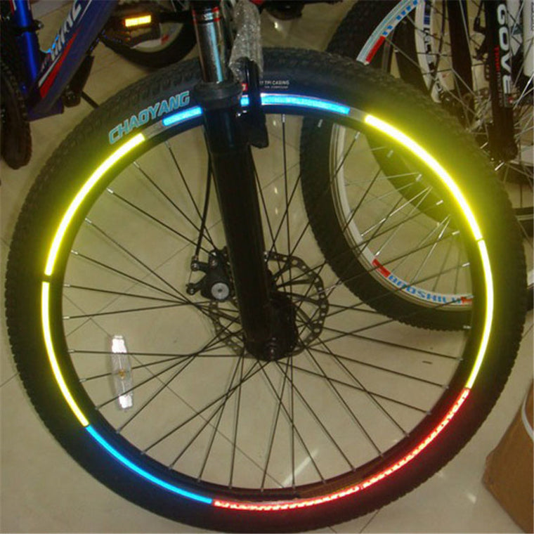Fluorescent Bicycle Reflective Stickers MTB Road Bike Stickers Motorcycle Wheel Tire Tyre Reflective Stickers Cycling Stickers