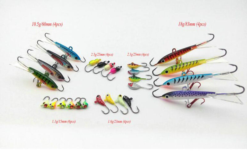 26Pcs Multi-species Ice fishing bait Mini Lead fish Jigging bait Winter fishing bait Set