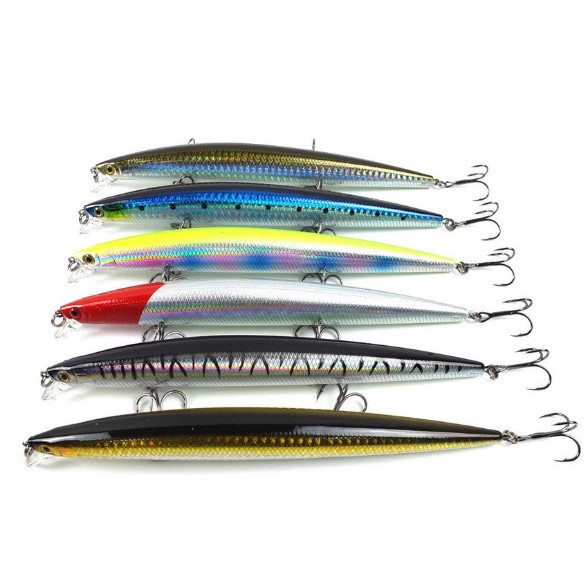 Lot 6pcs Fishing Minnow Big Game Lure Baits 17cm 27g Sea Bass Killer Long Shot Artificial Floating Lures Bait isca artificial