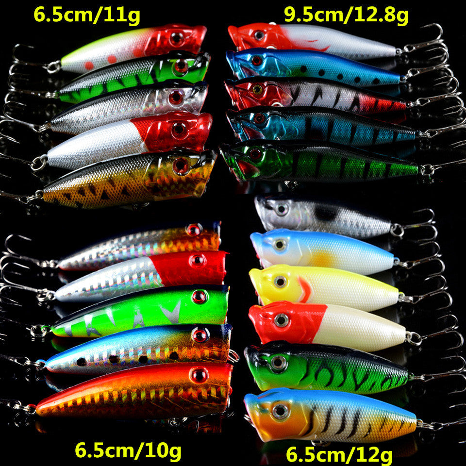 Hot 21pcs/lot Fishing Lures Lifelike Hard Baits Artificial Make Bass Crankbait Fishing Tackle Mixed 4 Model Popper Bait