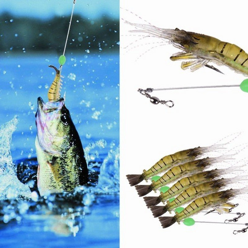 10pcs Soft Shrimp Lures ISCA Artificial Silicone Bait Fluorescence Bead/Hooks Soft Prawn Baits Fishing Lures Winter fishing 31C