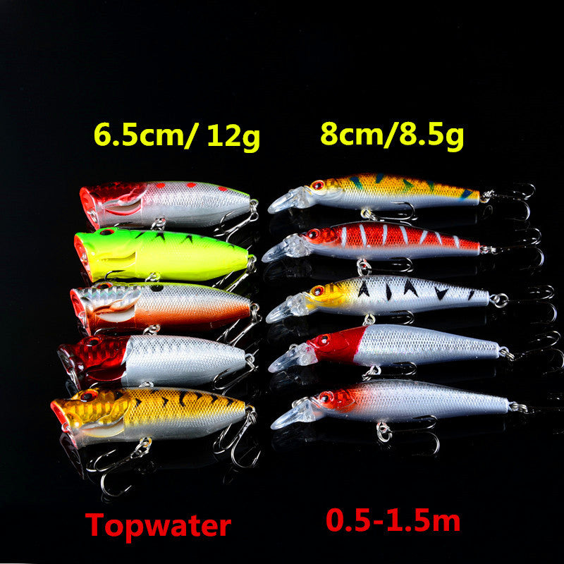 10pcs Mixed Lots Fishing Lures Two Models Wobblers Hard Fish Bait Crankbaits Tackle