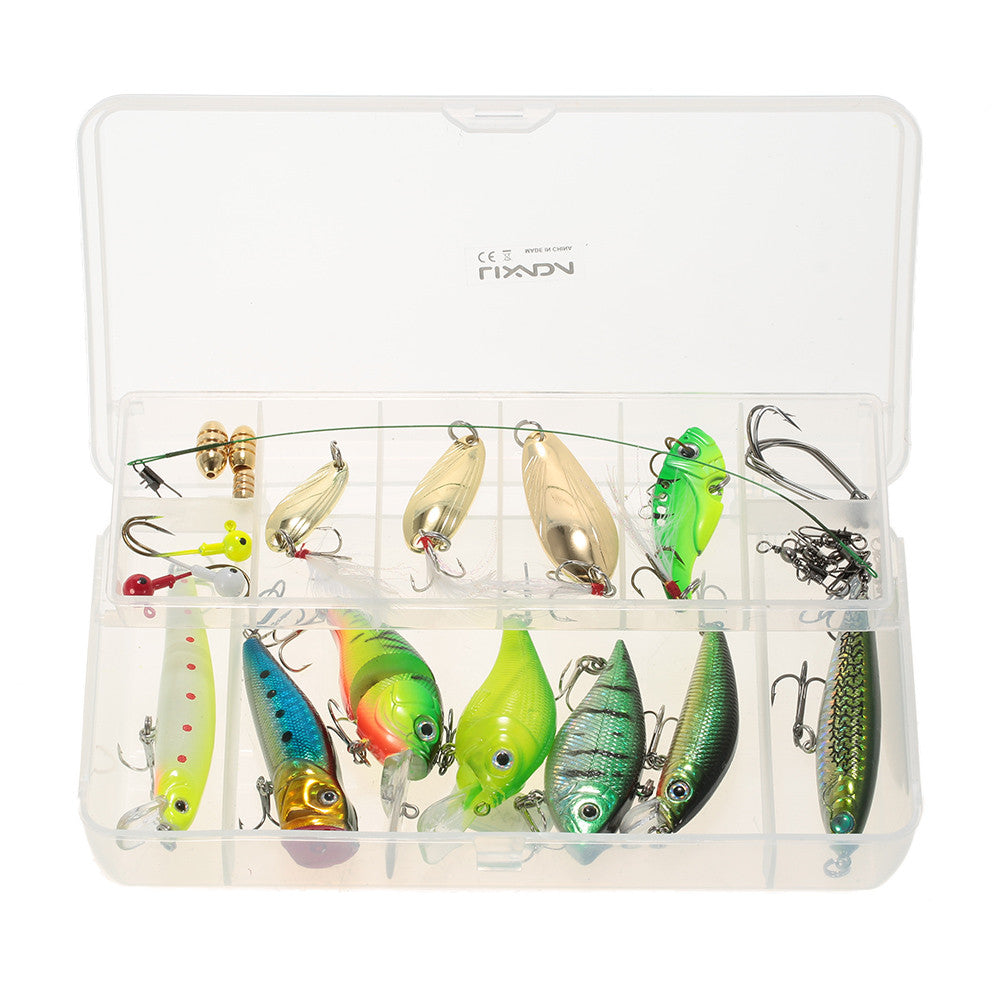 Lixada Fishing Lure Bait Kit VIB Popper Crank Minnow Pencil Sinking Spoon Artificial Lures Sinker 29 Pieces Set With Lure Box