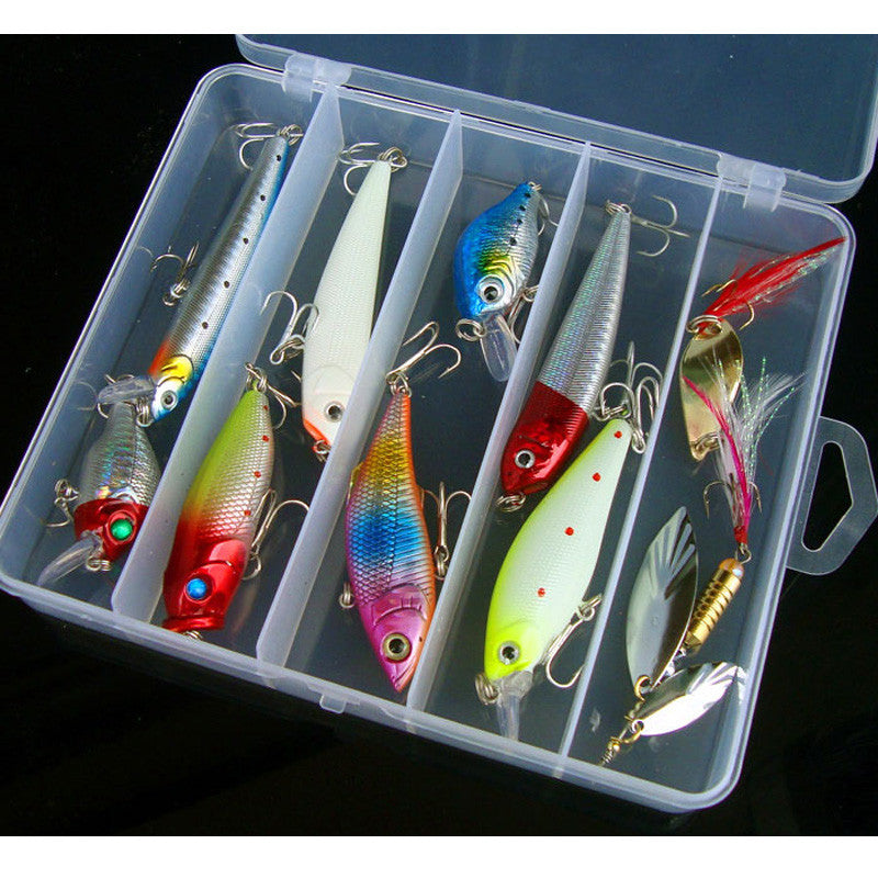 Fishing Lure Kit Minnow VIB Popper Pencil VIB Spoon Spinner Bait 10 Pieces Set Glow Freshwater Catch Tackle