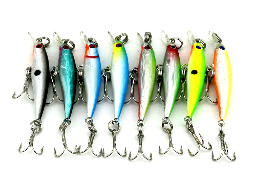 80pcs Crankbait isca artificial Fishing tackle high carbon Hook minnow fishing lure 5CM 2.1G plastic hard Bait 10# hooks