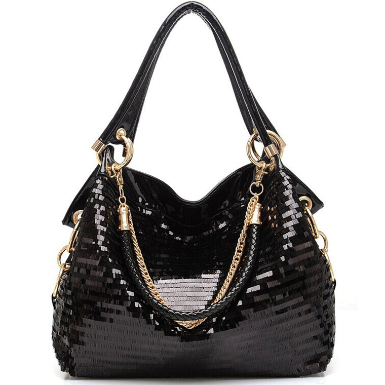 Fashion Leather Women Sequined Handbags High-grade Sequins Ladies Shiny Handbags Chain Shoulder Bag Famous Brand Designer Totes