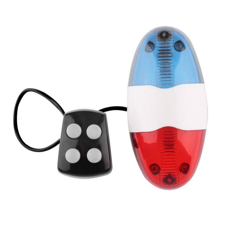 Red and Blue Bike siren 6 LED 4 Sounds Bike Police Front Light Warning Siren Cycling Electric Horn Bell for Below 24mm Diameter