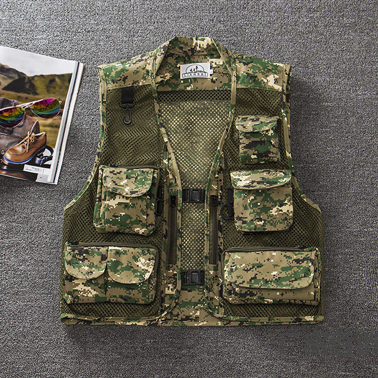 Summer Autumn Quick-Drying Camouflage Multifunctional Mesh Fishing Vest Jacket Multi-Pocket Outdoor Photography Waistcoat