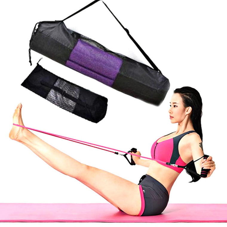 New Convenience Black Portable Yoga Mat Bag Case Nylon Pilates Carrier Mesh Adjustable Strap Sport Tool Style Not Include Mat