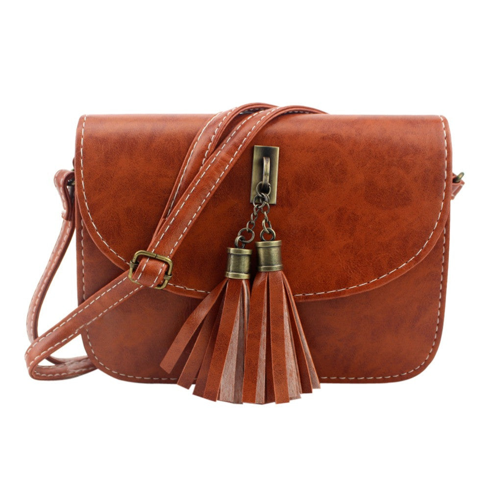 Vintage Small Bag Women Messenger Bags Soft PU Leather Tassel Handbags Crossbody Bag for Women Clutches Bolsas Femininas