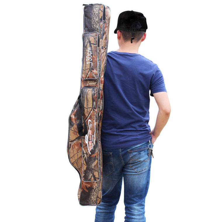 High Quality Camouflage 1.3M Fishing Bag Large Capacity 2 Layers Fishing Rod Tackle Bag Fishing Bag