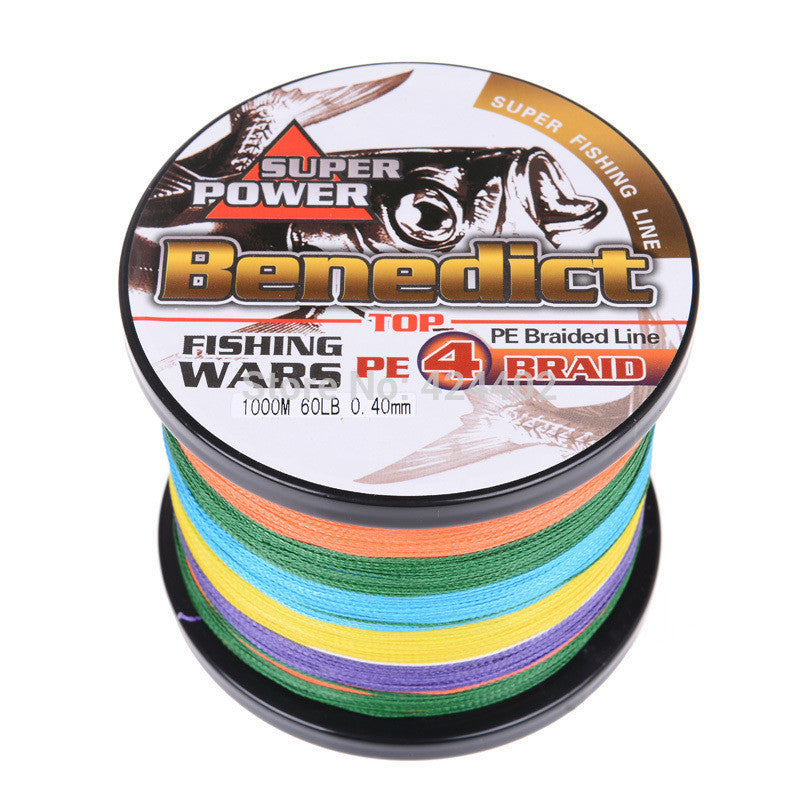 hot sale supper strong 1000M braided wires 100% pe fiber fishing line spectra multi-color 4 strands