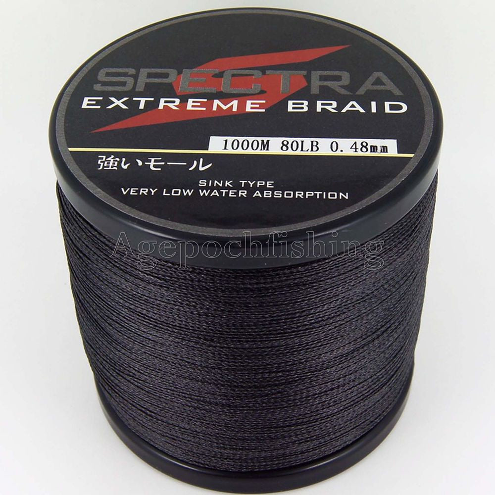 4 strands 1000m 80lb braided fishing line .black
