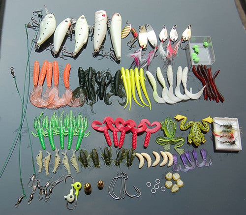 101 Pcs /Set Fishing Tackle Set with Soft Worm Lures+Metal Spinner Spoon Lures+Night Fishing Lures+Fishhooks+Connectors+Sinkers
