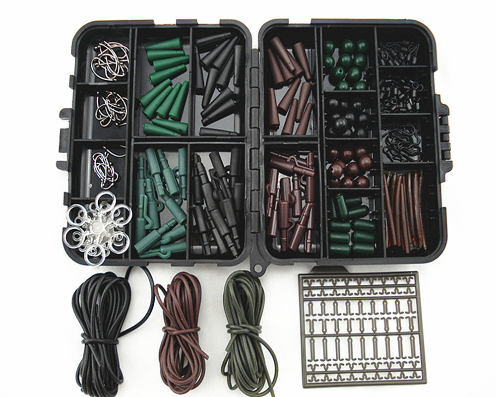 1 Set Assorted Carp Fishing Accessories For Hair Rig Combo Box lead clips, rig tubes, antitangle sleeves With Fishing Tackle Box