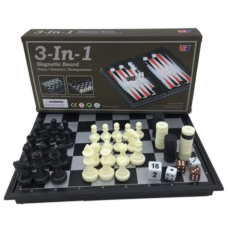 Mini Folding Magnetic Board Game Plastic Chess & Checkers Backgammon 3 in 1 Chess Sets With Chessboard And Chess Pieces Size S