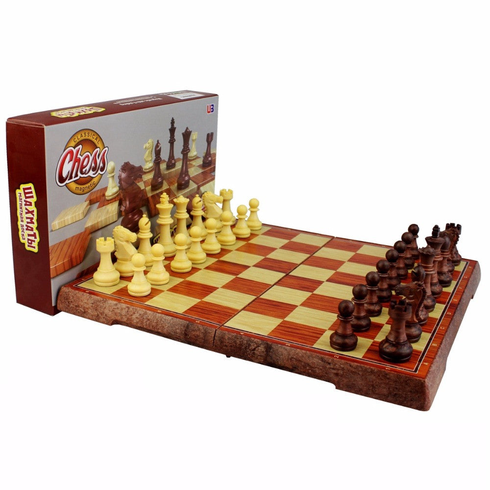 International Chess Checkers Folding Magnetic High-grade wood grain Board Chess Game English version three Sizes F247