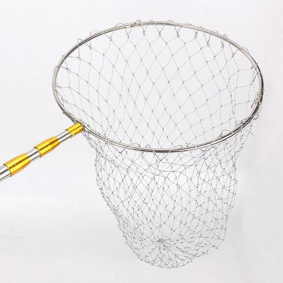 Stainless Steel 210cm Retractable Fishing Net Telescoping Foldable Landing Net Pole Folding Landing Net