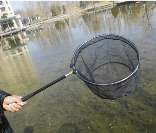 1.8M Stainless Steel Landing Net Handle casing net Nylon Fishing Landing Net Fishing Net