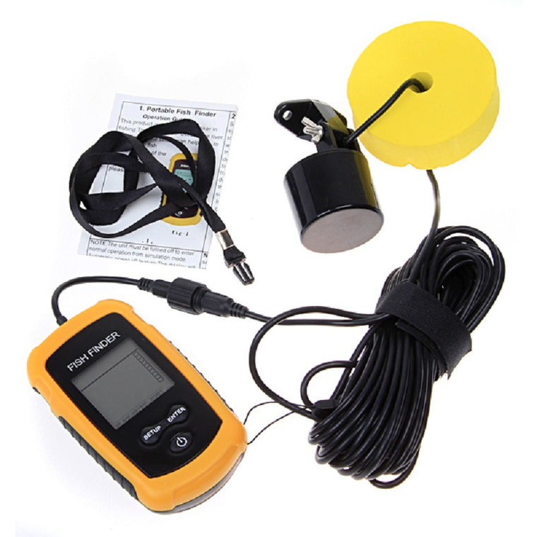 Portable fish finder depth sonar Sounder Alarm Transducer Fishfinder 0.7-100m fishing echo sounder with English Display