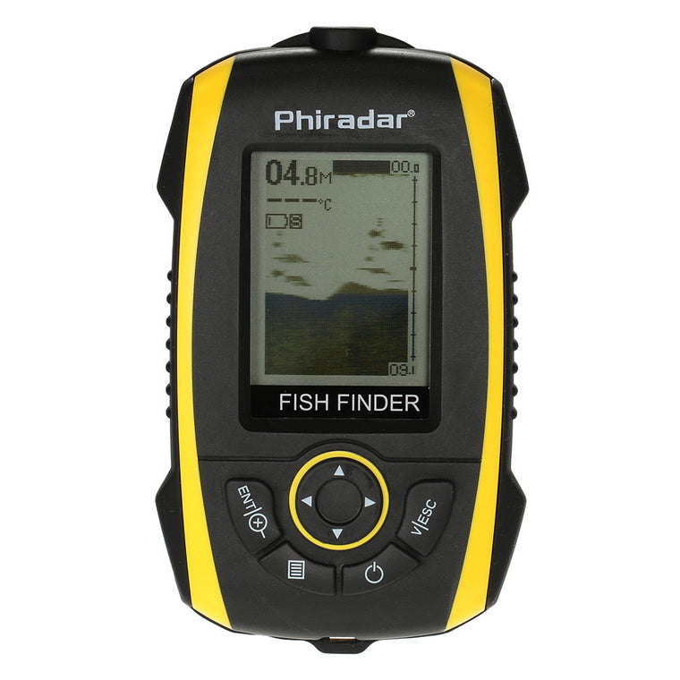 Portable Fish Finder 72m/240ft Depth Sonar Sounder Alarm Transducer Fishfinder Fishing Bait Tool 200KHz/83KHz LCD Fishfinder