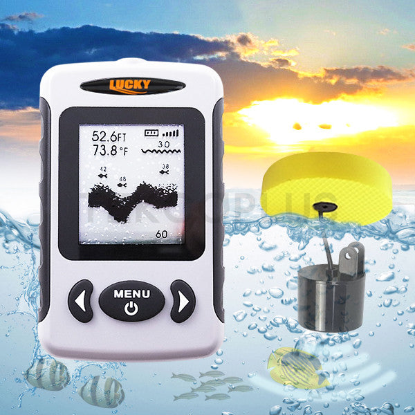 FF-718 LUCKY Professional Wired Fish Finder 80m(240ft.) Depth Range Water Resistant Adjustable Dot Matrix FSTN LCD Screen