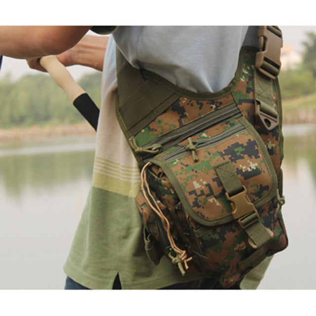 Fishing Tackle Bag Outdoor Sports Bag Multifunction Lure Bag Fishing Rod Tackle Bag Waist Pack Camping Hiking Moutaineering