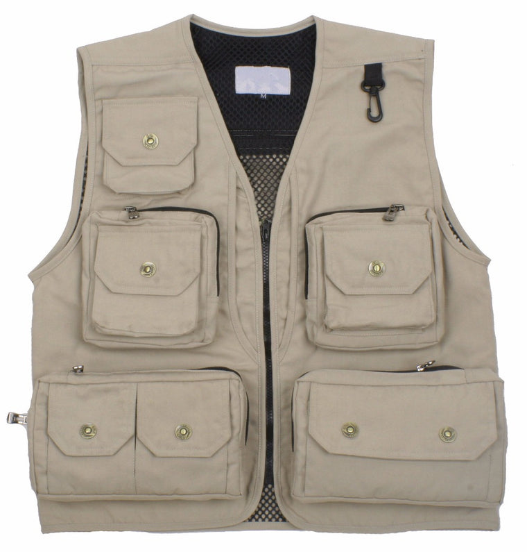 Men's Fall and Winter Outdoors Multi-Pockets Mesh Fishing Vest Photography Vest Waistcoat