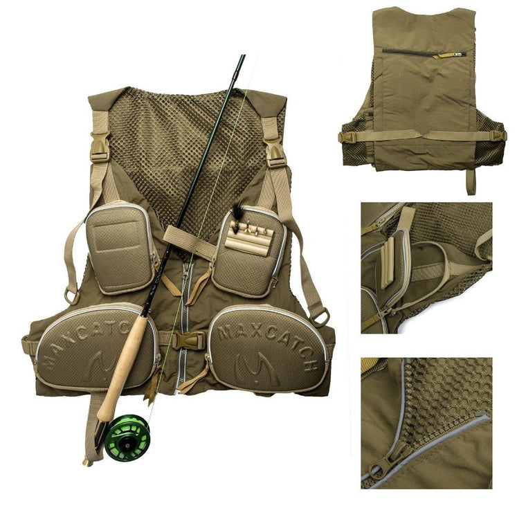 Handy Adjustable Fishing Vest Large Size Multi-pocket Fishing Pack Outdoor Vest Multifunction Quick Dry Ultralight Mesh