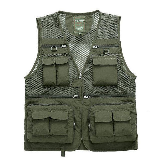Cotton+Polyester Mesh Fishing Vest Quick Dry Waist Coat Military Vest Fishing Jacket Outdoor Cameraman Reporter Coat Outerwear