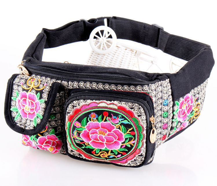 New Coming Women Waist bags!Hot Vintage Ethnic embroidery embroidery bag canvas arm waist packs travel portable shoulder bags